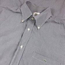 Lacoste 42 Large Black White Micro Check Long Sleeve Button Front Dress Shirt