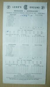 1953 Cricket Scorecards MIDDLESEX v AUSTRALIANS - Lord's Ground July 3 day Match