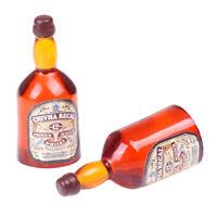 2 Pieces 1/12 Dollhouse Pub Bar Decor Miniature Whiskey Wine Bottles Accessories