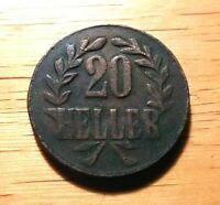 GERMAN EAST AFRICA- 1917 TABORA MINT - 20 HELLER WILHELM II - KM#15  TNKO