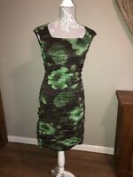 Phase Eight Ladies Size 12 Grey Green Floral Unusual Sought After Dress