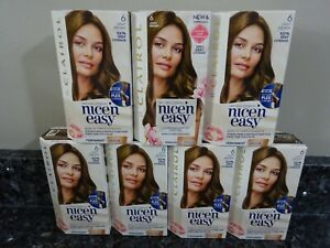 7 CLAIROL Nice'n Easy #6 LIGHT BROWN Permanent Natural Looking Hair Color, Dye