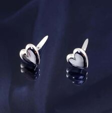 Sterling Silver Domed Heart Andralok Studs Earrings.