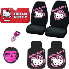 7PC CAR HELLO KITTY SEAT STEERING COVERS MATS AND ACCESORIES SET FOR HYUNDAI