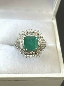 3.44CTW Platinum Emerald and Diamond Cocktail Ring