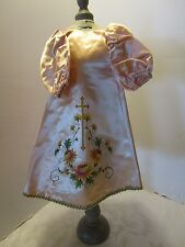 """Antique GOWN JESUS INFANT OF PRAGUE RELIGIOUS STATUE satin ROBE hand painted 16"""""""