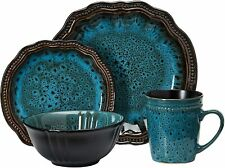 ELAMA MYSTIC WAVES OCEAN BLUE 16pc HIGH GLOSS STONEWARE DINNERWARE SET FOR 4