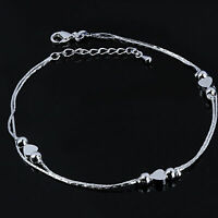 925 Sterling Silver Women's Chain Adjustable Hearts Anklet Ankle Bracelet Gift