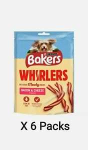 6 x Purina Bakers Whirlers Bacon & Cheese Meaty Dog Treats 130g Low In Fat