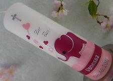 Taufkerze éléphant rose taufkerzen pour filles taufkerze avec nom et date NEUF