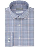 Michael Kors Men's Slim-Fit Airsoft Non-Iron Stretch New Blue Check Dress Shirt,