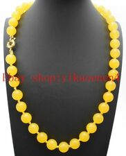 Natural 8mm Yellow America Topaz Jade Round Bead Gemstones Necklace 18 Inch AAA