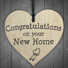 Congratulations On Your New Home Wooden Hanging Heart Plaque Moving In Present