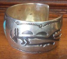 Vintage Hopi Native Sterling Silver Overlay Cuff Bracelet 74 grams & Turquoise