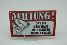 MEIN HAUS GARTEN FAMILIE HUND HUNDE - Tierwarnschild -  Warnschild 20x12 cm 52