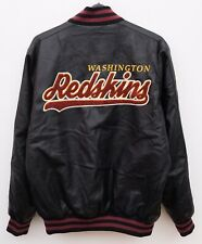 Washington Redskins Men's L Faux Leather NFL Bomber Varsity Jacket Coat Black