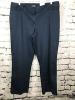 New Lands End Women's Blue Twill Trouser Pants Mid Rise Straight Leg 20W