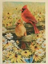Male & Female Cardinals, Red Birds, Wooden Fence, Summer Daisy Flower House flag