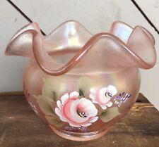 Hand Painted Pink Fenton glass Rose Bowl Ruffled Edge Signed J.Dowler