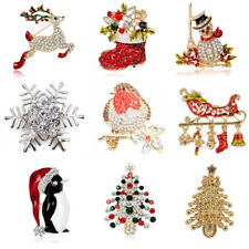 Christmas Brooch Pins Gold Tone Diamante Crystal Broach XMAS Gifts Robin Santa