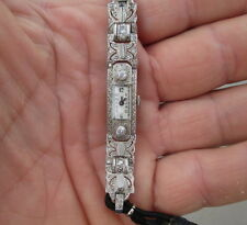 orologio donna platino diamanti fine 800-funzionante e revisionato-punzonato.