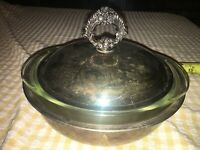 VTG ENGLISH SILVER MFG CORP Plated Lid Casserole W/ Pyrex Ovenware 023 1 1/2 Qt