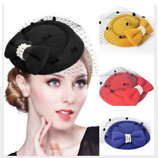 Women Fascinator Hair Clip New Fashion Bride Elegent Pearl Bow  Mesh Net Hat