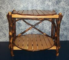 Handcrafted Primitive Natural Hickory End Table with Country Accents