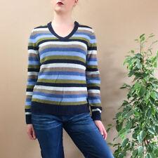 Vintage 90's Grunge Indie Striped Merino Wool Sweater Jumper Large UK 14 16