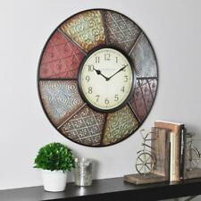 Wall Clock Large 20.5 in. Round Decorative Patchwork Analog Modern Home Decor