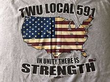 VTG. TWU LOCAL 591-IN UNITY THERE IS STRENGTH UNION MADE- POCKET-T-SHIRT-XL-RARE