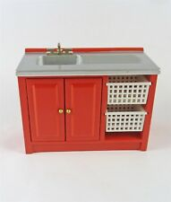 Dollhouse Miniature Laundry Kitchen Sink with Baskets, M1840. RED