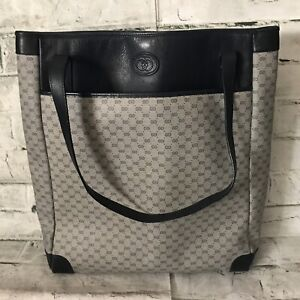 FAB VTG Authentic GUCCI 002-115-013 Navy Blue GG Logo Canvas & Leather Tote Bag
