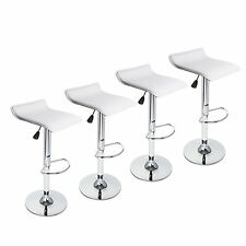 Set Of 4 Bar Stools Leather Adjustable Swivel Hydraulic Pub Counter Chair