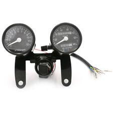 Universal LED Analog Motorrad Drehzahlmesser Tachometer Kilometerzähler Schwarz