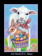 Baby Sheep Lamb Rabbit Bunny Easter Eggs Flowers ACEO Limited Edition Art Print