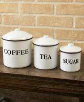 Country Farmhouse Enamelware Kitchen Collection Set of 3 Canisters Food Storage