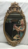 Vtg ORNATE 1930-40's Barbola Flowers Basket Mirror Wood Chalk Gold Frame