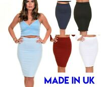 Womens Ribbed Plain High Waisted Knee Length Bodycon Stretch Pencil Midi Skirt