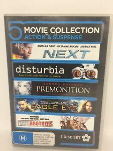 DISTURBIA/EAGLE EYE/FOUR BROTHERS/NEXT/PREMONITN Movie Very Good Condition