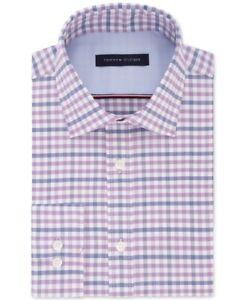 Tommy Hilfiger Mens Dress Shirt Classic Purple Size 17 1/2 Athletic Fit $79 289