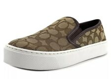 New COACH Womens 7.5 M Cameron Outline Sig C/Nap Khaki Chestnut Slip On Sneakers
