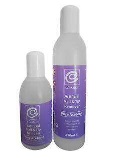 Classics 100% Pure Acetone Nail Polish Remover, 250ml&150ml. Acrylics&Tips