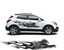 "XXL 2x Autoaufkleber Car Tuning Tiger"" 195x39cm Farbe nach Wunsch"