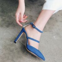 Womens Pointed Toe Ankle Buckle Pumps Slim High Heels Sandals Denim PU Shoes Sz