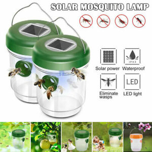 2xSolar Powered Outdoor Wasp Trap Catcher UV Light – Traps Wasps, Hornets, Bees