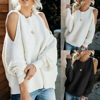 Womens Cold Shoulder Sweaters Batwing Sleeve Loose Oversized Pullover Knit Tops