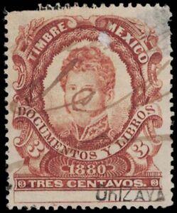 1880 MEXICO Revenue Stamp - Orizava? (Orizaba?), 3 Centavos A18L