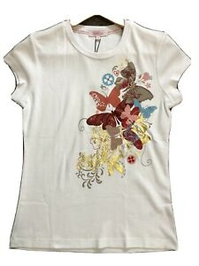 Butterfly Matthew Williamson White Butterfly Embellished SS T Shirt Size 10 BNWT