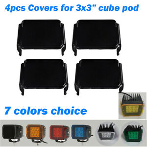 """4x Protective Lens Cover For 3x3"""" inch Led Work Light Bar OffRoad Cube Pods Lamp"""